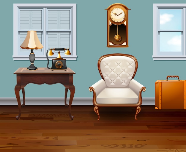 Chambre pleine de meubles vintage