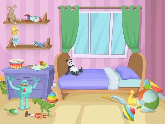 Chambre pour les enfants avec des jouets drôles sur le sol
