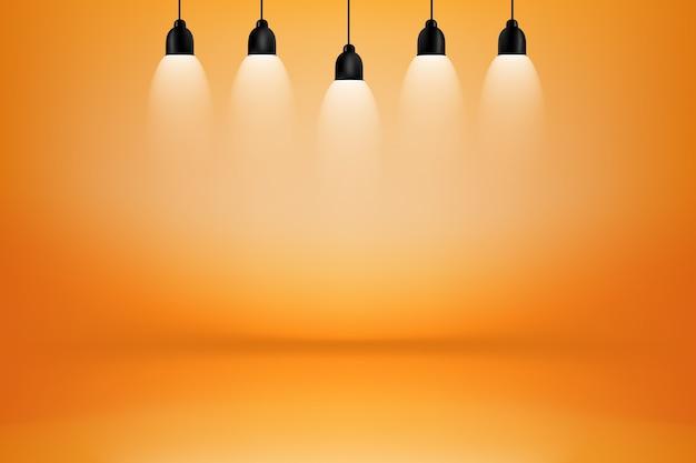 Chambre studio orange et jaune avec fond boîte à lumière