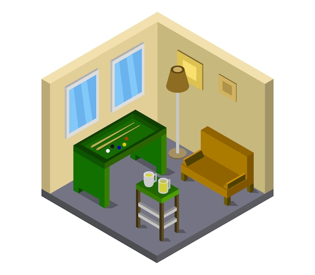 Chambre avec table de billard isométrique