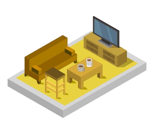 Chambre avec télévision isométrique