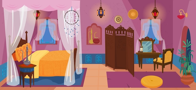 Chambre traditionnelle du moyen-orient avec mobilier et éléments de décoration.