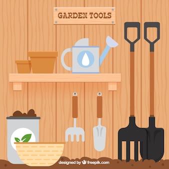 Chambres en bois avec des éléments de jardin