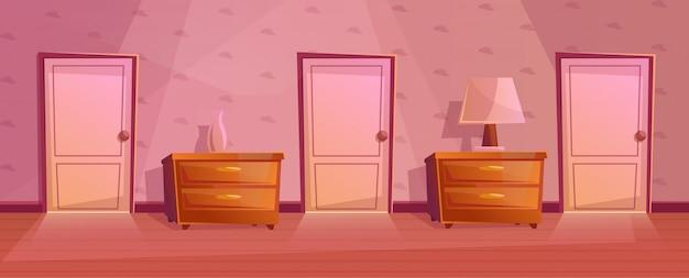 Chambres dans le couloir de l'hôtel. couloir