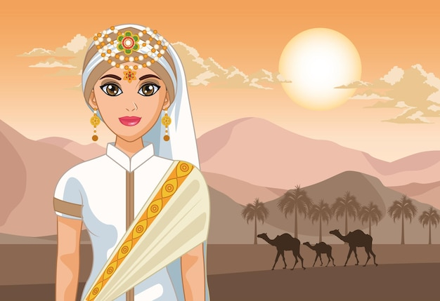 Chameaux et mariée arabe dans le désert