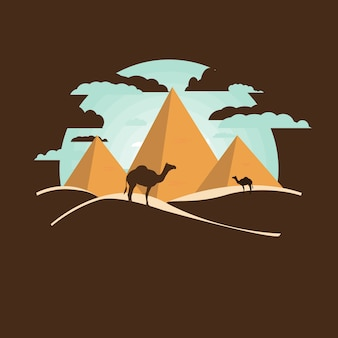 Chameaux près du paysage pyramidal d'egypte. grandes pyramides égyptiennes dans le désert sur un fond.