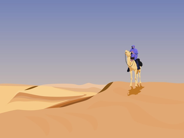 Un chamelier dans le désert a un fond de ciel.