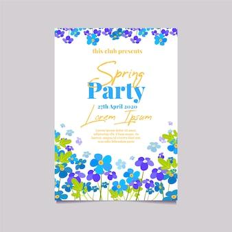 Champ avec affiche de fête de printemps design plat fleurs