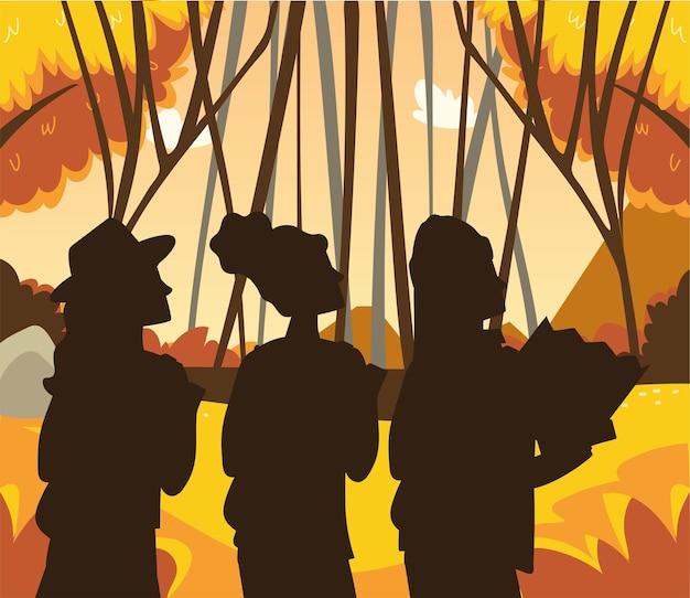 Champ d'arbres forestiers d'automne de personnes