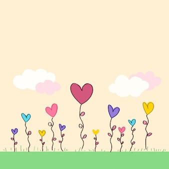 Champ de fleurs en forme de coeur