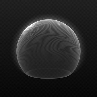 Champ de force énergétique, bouclier à bulles sur fond transparent