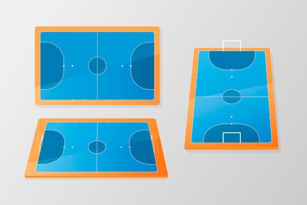 Champ de futsal bleu et orange sous différents angles