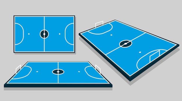 Champ de futsal dans différentes perspectives