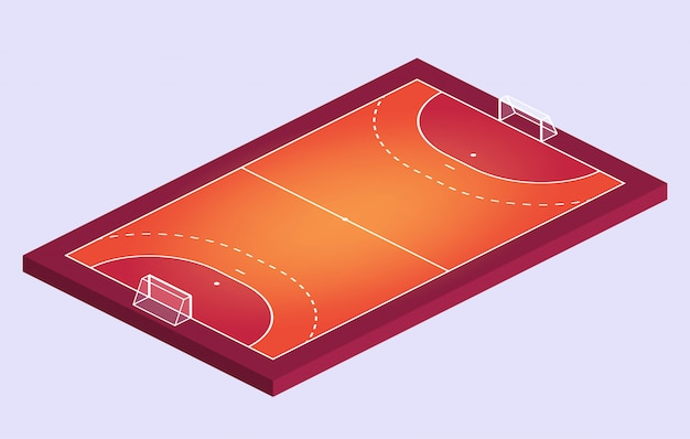 Champ isométrique pour le handball. contour orange des lignes illustration de terrain de handball.