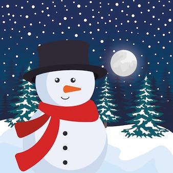 Champ de neige avec scène de bonhomme de neige