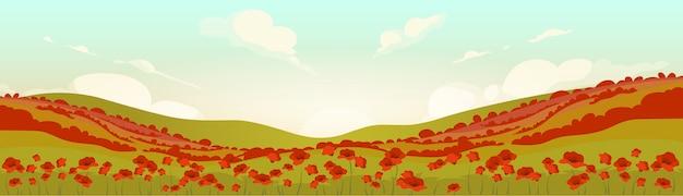 Champ de pavot toscan au lever du soleil illustration couleur plate