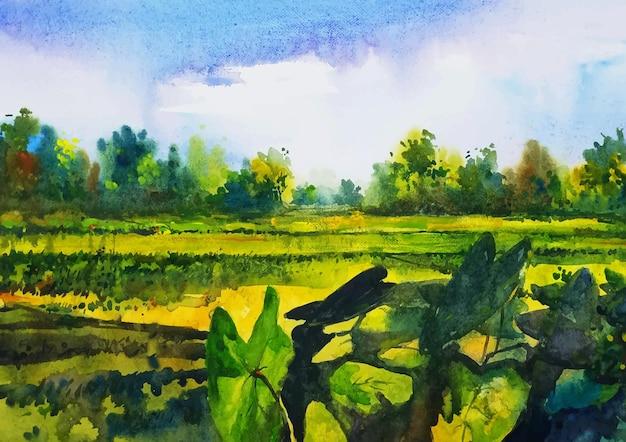 Champ de peinture aquarelle de campagne