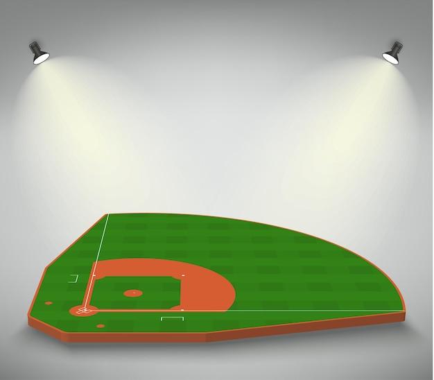 Champ de terrain de baseball vert éclairé par des lumières. contexte sportif. diamant de stade de baseball avec des projecteurs. modèle de terrain de jeu avec des lignes blanches. balisage vectoriel