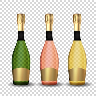 Champagne 3d réaliste collection de bouteilles d'or, rose et vert set icon isolé