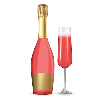 Champagne 3d réaliste rose rose et icône de bouteille et de verre d'or isolé