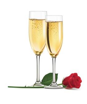 Champagne et rose isolés. réaliste