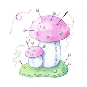 Champignon aiguille de dessin animé aquarelle avec du fil et des aiguilles à coudre. illustration