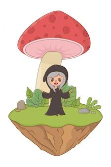 Champignon et caractère de l'illustration vectorielle de conception de conte de fées