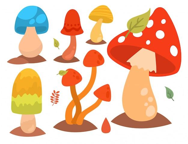 Champignon champignons champignons agaric toadstool différents art style design champignons illustration vectorielle chapeau rouge