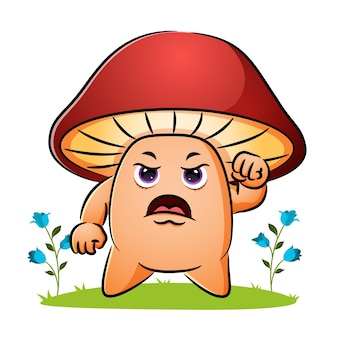Le champignon en colère serre la main de l'illustration