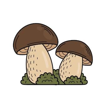 Champignon comestible mignon dans un style doodle. ingrédients pour la cuisine, salades. récolte des plantes d'automne. illustration de main de vecteur