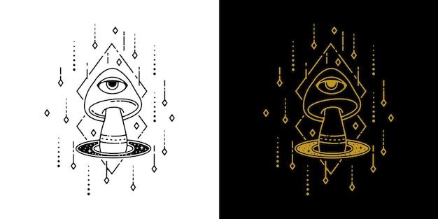 Champignon avec conception de monoline de tatouage géométrique des yeux