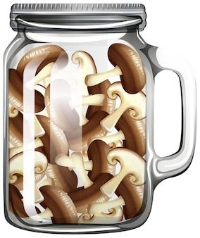 Champignon dans le bocal en verre