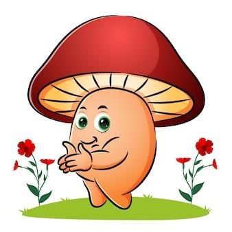 Le champignon frappe la main avec le visage heureux de l'illustration