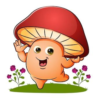 Le champignon heureux agite la main dans le jardin de l'illustration