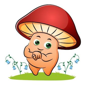 Le champignon heureux traverse la main de l'illustration
