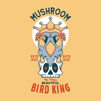 Champignon avec illustration vintage de caractère roi oiseau