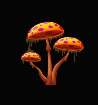 Champignon magique de fée d'imagination avec les chapeaux oranges. champignon fantastique, champignon aux couleurs vibrantes de la planète extraterrestre avec des points violets lumineux et fluorescents, vecteur de dessin animé fée vénéneuse visqueuse couverte de boue