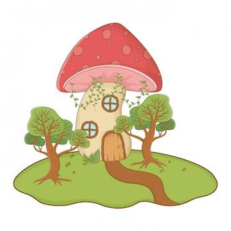 Champignon maison d'illustration vectorielle de conception de conte de fées