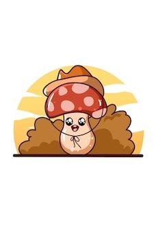 Champignon mignon avec illustration de dessin animé de chapeau de cowboy