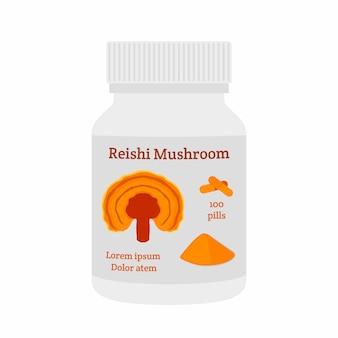 Champignon reishi, ganoderma lucidum comprimés, pilules, poudre