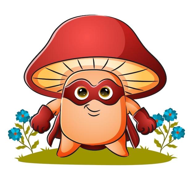 Le champignon de super-héros porte un masque d'illustration