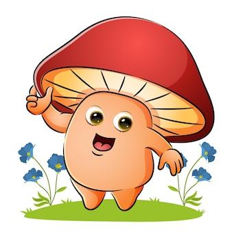 Le champignon tient le capot dans le jardin d'illustration