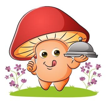 Le champignon tient le couvercle de la nourriture avec le délicieux goût de l'illustration