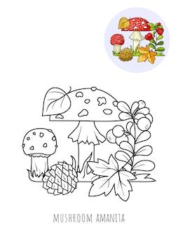 Champignons amanites et airelles, une image à colorier avec un échantillon de couleur.