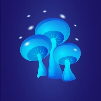 Champignons bleus brillants fantastiques sur fond sombre