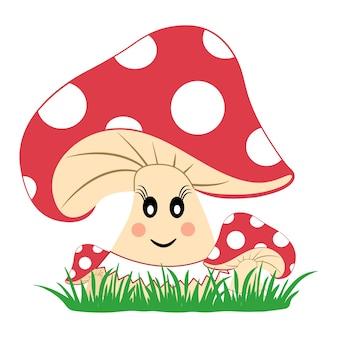 Champignons colorés dans l'herbe. champignon avec émotion. visage souriant. illustration