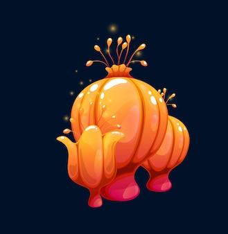 Champignons dodus orange magiques fantastiques