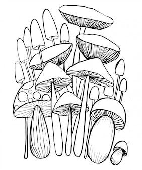 Champignons doodles vecteur pour cahier de coloriage.