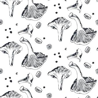 Champignons girolles avec motif oignons et grains de poivre