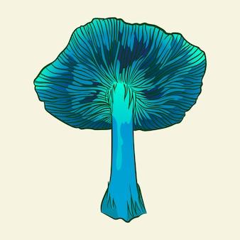 Champignons hallucinogènes phosphoricants menaçants illustration vectorielle isolé dessinés à la main